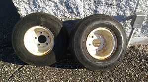 TRAILER WHEELS: 18.5x8.5-8 PAIR of Carlisle USA Trail tires AND RIMS for Sale in Minneapolis, MN