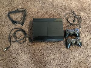 PS3 Slim 500 GB with 20+ Games and 2 controllers for Sale in Denver, CO