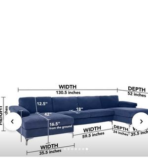 Navy blue double chaise sofa from Amazon for Sale in Atlanta, GA