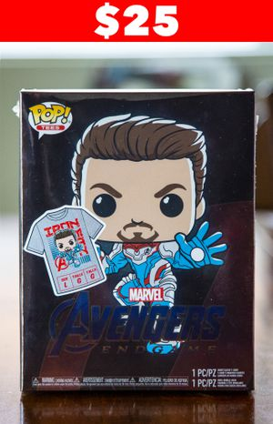 LIMITED TIME ONLY $25 - Funko Pop! & Tee Avengers Endgame Target Exclusive feat. GITD Iron Man - sz Large for Sale in Avondale, AZ