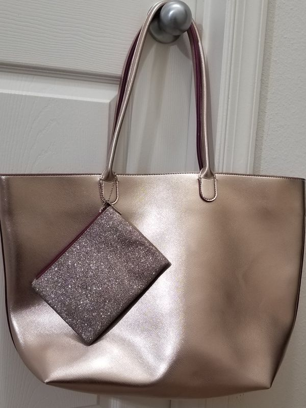 Bath & Body Works Rose Gold Tote with Glitter Wristlet