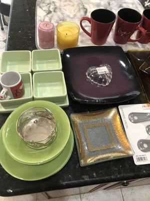 Lot of Glass ware, trays, server ware, bowls, candles, spoons set etc. Everything for $25 for Sale in Herndon, VA