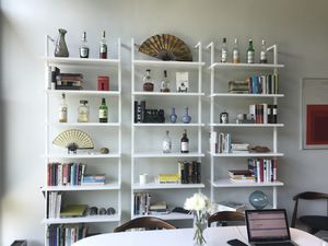 "2, CB2 white wall mounted stairway bookcases 96"" for Sale in Boston, MA"
