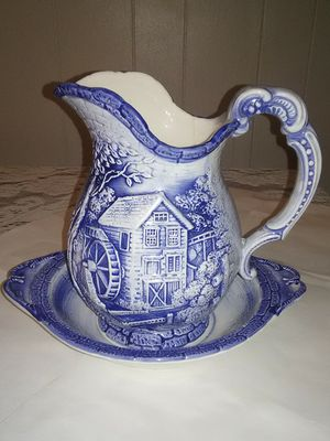 Antique Ceramic Japanese blue and white water pitcher and basin for Sale in Wichita, KS