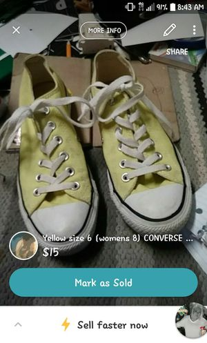 Yellow converse all stars sz6 (8women) for Sale in St. Louis, MO