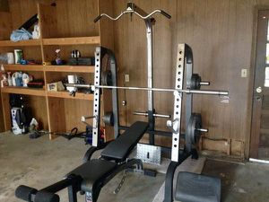 Bench and squat rack with weight set club weider 500 for Sale in Saint Charles, MO