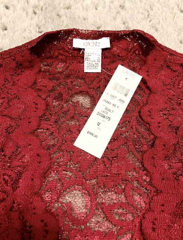 New! Cache 2 Piece Lace Camisole paid $158 size 12 Burgundy Top Blouse Tie Waist very Stylish! Look great with jeans or a long ball gown skirt!