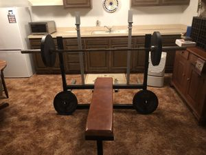 Exercise Equipment - bench press, squat racks plus 250 pounds of York plates for Sale in Broadview Heights, OH