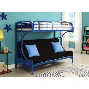 BLUE FINISH METAL CONSTRUCTION TWIN over FULL SIZE FUTON BUNK BED / LITERA AZUL CAMA SILLON for Sale in Hemet, CA