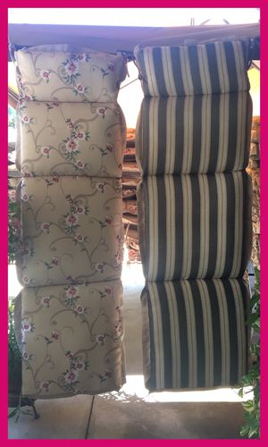 CHAISE LOUNGE CUSHIONS   Water Proof for outdoor patio chair furniture   $30 each   Price is FIRM   Beige Floral/Green Stripes for Sale in Fontana, CA