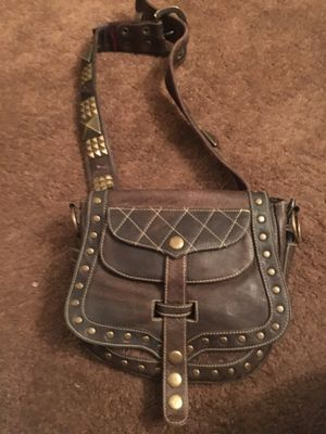 Studded brown leather belt with waist hip bag $25 for Sale in Las Vegas, NV