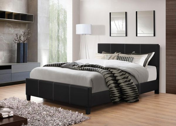 Brand New King Size Grey Linen Upholstered Platform Bed Frame