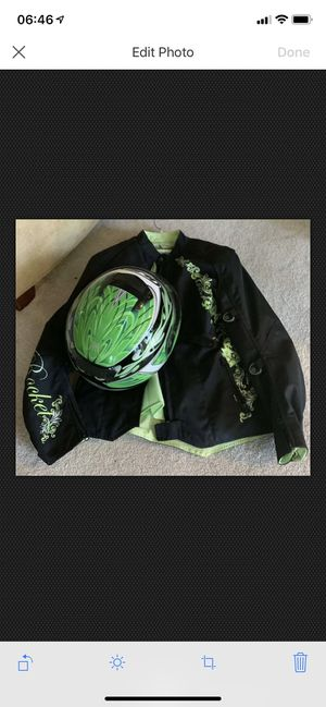 Women's L Joe Rocket armored jacket with matching helmet for Sale in Collinsville, IL