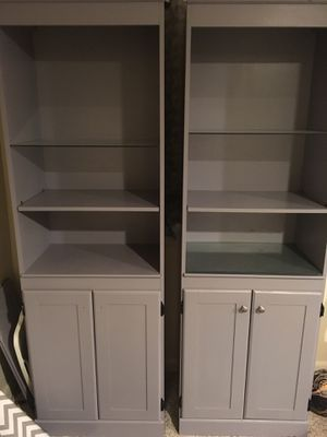 Grey book shelf's or cabinets( I have one left with three glass shelves) for Sale in Aurora, CO