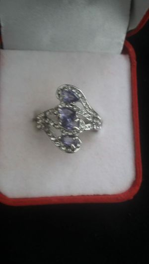 Ladies fashion 925silver natural sapphire gemstone diamonds ring princess wedding band 9 for Sale in Moreno Valley, CA