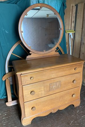 Solid oak dresser with mirror, headboard, footboard and side rails. for Sale in Morgantown, WV