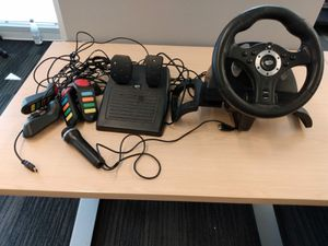 MadCatz Racing Wheel & Pedals for PS3 + Buzz! Buttons and Microphone BUNDLE for Sale in Kent, WA