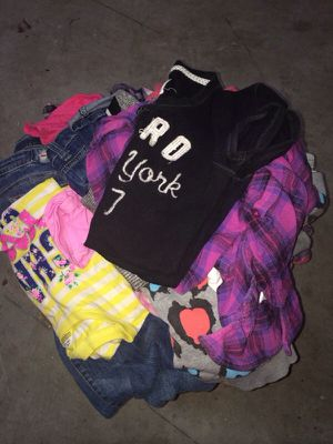 Large box filled with clothing kids clothing adult and teens for Sale in Cape Coral, FL