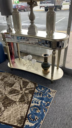 Metallic Console Table with Mirror Accent Trim Z9S6R for Sale in Euless, TX