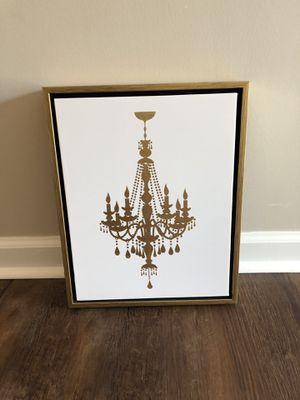 White canvas with gold frame chandelier decor picture for Sale in Lewis Center, OH