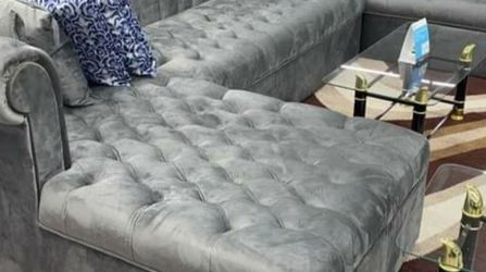 Lauren Velvet Gray Double Chaise Sectional ❗$39 Down Payment 100 Days Same As Cash for Sale in Austin,  TX