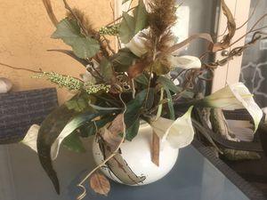 Artificial flower arrangement with porcelain vase for Sale in Hollywood, FL