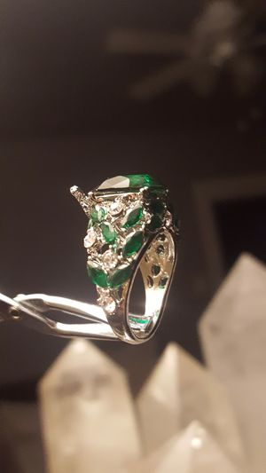 Unique size 7 ART-DECO-ring Italian 925 with Deep green-EMERALD-stone💎💎💎💎💎 shipping only✈️ check listing for more items🎁🎁 for Sale in Ankeny, IA