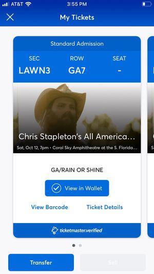 2 Christ Stapleton tickets for Sale in FL, US