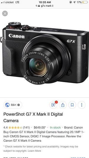 Powershotshot G7 X mark ii digital camera with memory card for Sale in Nashville, TN