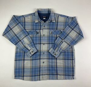 Patagonia Mens Large Organic Cotton Blue Flannel Button Down Jacket Shirt for Sale in Tucson, AZ