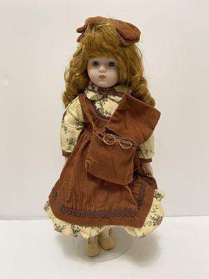 Vintage Porcelain Doll w/ Corduroy Bag & Glasses for Sale in Waynesboro, VA