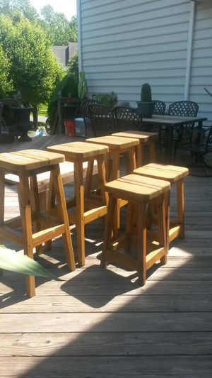 Beautiful hand crafted solid wood stools and bench set for Sale in Silver Spring, MD