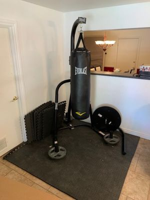 Everlast heavy bag and speed bag stand with heavy bag for Sale in Scottsdale, AZ