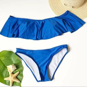 Blue Off Shoulder Flounce Swimsuit Strapless Size S for Sale in GRANT VLKRIA, FL