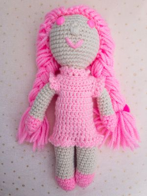 Pink Crochet Doll, Pink Amigurumi Girl, Pink Plushie Doll, Pink Handmade Princess, Long Hair Doll with Clothes for Sale in Burlington, MA