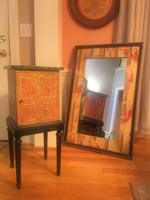 Wall Mirror, small side decorative table, and large living room couch less than two years old. for Sale in Raleigh, NC