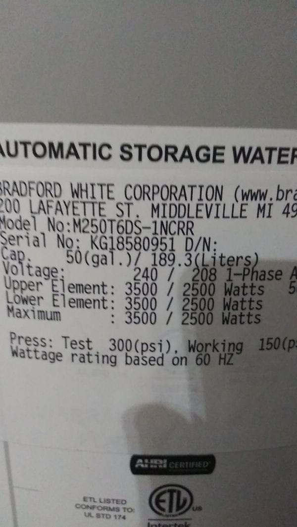 Bradford White 50 Gallon Water Heater.