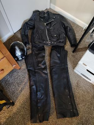 Motorcycle Jacket Chaps and helmet for Sale in Eugene, OR