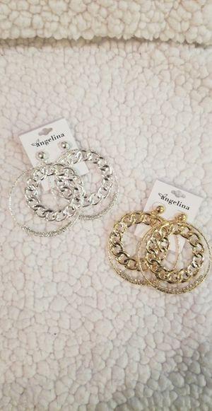 Silver and gold hoop diamond earings for Sale in Perris, CA