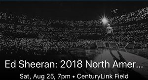 2 Ed Sheeran tickets Sat 8/25 @ 7pm for Sale in Kennewick, WA