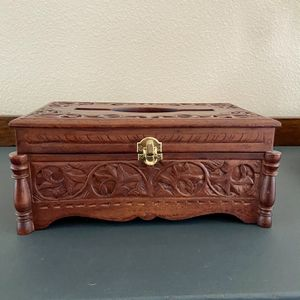 Hand Carved Mahogany Tissue Box for Sale in Oklahoma City, OK