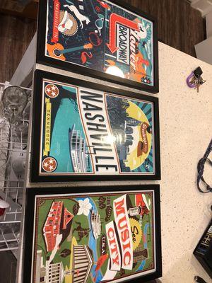 Framed Nashville posters for Sale in Nashville, TN