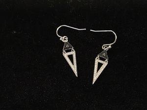 925 white topaz and black diamond earrings for Sale in Baltimore, MD