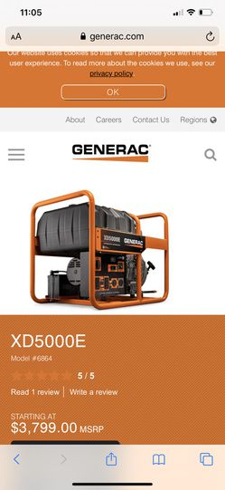 Generac xd5000e 5000 watt diesel generator for Sale in Los Angeles,  CA