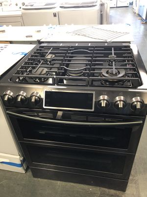 New 3 pc set of appliances Samsung gas stove , whirlpool fridge black stainless steel, whirlpool microwave black stainless steel for Sale in Woodbridge, VA