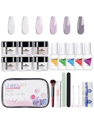 UNIBOUTI Dip Powder Nail Kit White Pink 6 Colors Dipping Powder Nail Starter Kit, Acrylic Dipping Powder System for French Nail Manicure Nail Art Set for Sale in Baldwin Park, CA