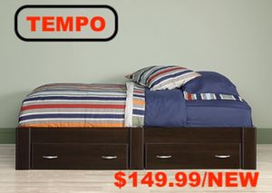 Twin Platform Bed with 2 Drawers, Cinnamon Cherry for Sale in Downey, CA