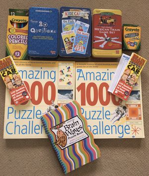 Assorted games, puzzle books, color pencils and metallic crayons - toys!! for Sale in Potomac, MD