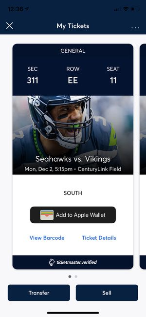 Two Seahawks vs Vikings Tickets - Monday Night Football for Sale in Renton, WA