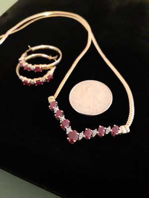 $400! All 10k gold ruby diamond necklace and earring set for Sale in Tacoma, WA